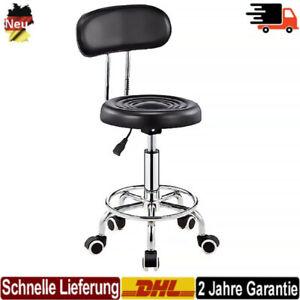 GOTOTOP 360/° Drehstuhl,Drehhocker mit Lehne Rollhocker Hocker Arbeitshocker Kosmetikhocker Drehstuhl mit 5 Feststellr/äder