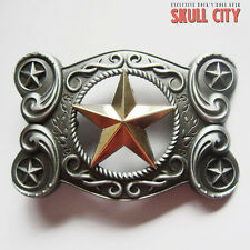 WESTERN GOLD STAR ORNAMENTS BUCKLE - Belt BUCKLE - Cowboy Sheriff Marshal USA