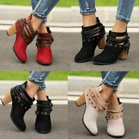 Retro Women Ankle Boots Ladies Strappy Chunky Mid Block Heel Zip Up Casual Shoes