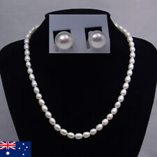 Freshwater Pearl Necklace & Earrings Sets With Gift Bag