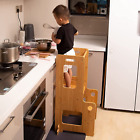 Kitchen Helper Stool for Toddlers, Bamboo Step Stool for Kids, Kitchen Helper