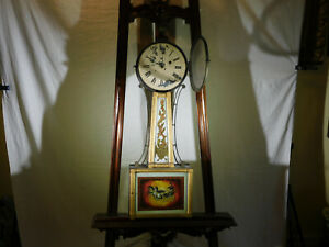 Antique c1822-1828 Mahogany&Pine Cased Reverse Painted Banjo Clock w/Brass Arms
