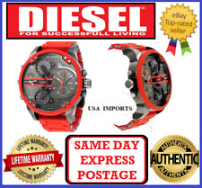 DIESEL DZ7370 MR DADDY 2.0 RED STEEL/ SILICONE 4 Time Zone Chrono Mens Watch