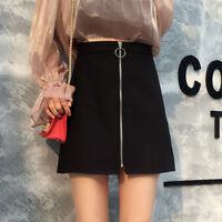 Women's Black Slim A-Line Ring Zip Front High Waist Short Mini Skirt  S-2XL