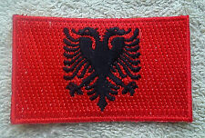 ALBANIA FLAG PATCH Embroidered Badge Iron or Sew on 3.8cm x 6cm Shqipëri NEW