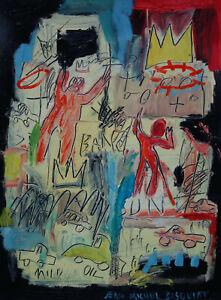 Fine unique Pop Art painting, Graffiti art, signed Jean Michel Basquiat w COA