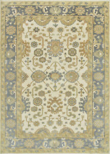 Oushak 6'x9' Ivory Wool Hand-Knotted Oriental Rug