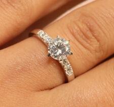 1 CT ROUND CUT DIAMOND ELEGANT ENGAGEMENT RING 18K WHITE GOLD FINISH SIZE 9