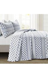 New Lush Decor Monique Blue White Art Pattern Full/Queen Quilt & Shams Set 3pc