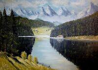 S. PFEIFFER (XX) schönes Alpen - Gemälde: - RIEßERSEE u. WAXENSTEINE