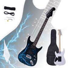 New Design ST-E Lightning Style White Electric Guitar +Strap +Cord+ Gigbag+Picks