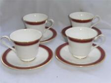 4 Royal Doulton Martinique Cups & Saucers Maroon Dolphins Teal Floral EUC