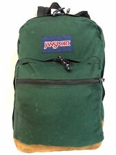 JANSPORT Green Backpack Bag, Bottom Is Suede Leather. Super Clean Used 3 Section