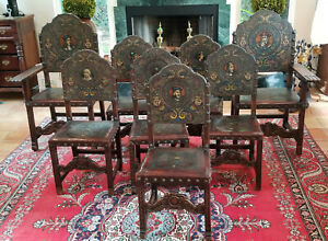 8 ANTIQUE 19c SPANISH HAND TOOLED EMBOSSED PAINTED LEATHER CARVED WALNUT CHAIR