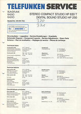 TELEFUNKEN Service Manual Anleitung CD-Spieler HP 830 T HP 250  B1556
