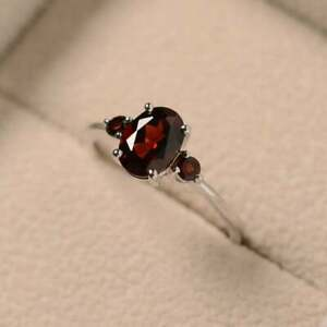 2Ct Oval Cut Red Garnet Vintage Women's Engagement Ring 14K White Gold Finish