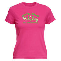 Funny Novelty Tops T-Shirt Womens tee TShirt - Camping Drinking