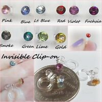 Invisible Clip On Stud 4mm Rhinestone Non Pierced Hypoallergenic Earrings Y407