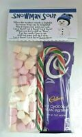 Cadbury Hot Chocolate Drink Snowman Soup with Mini Marshmallows and Candy Cane