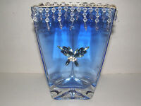 HEAVY CONTEMPORARY CUT GLASS CRYSTAL VASE DECORATED WITH GLASS  BEADS ON TOP
