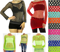 New Sexy Long Sleeve Fishnet Shirt Top Bathing Suit Cover Up Dance Beach Wear