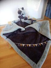 Doudou couverture peluche zèbre zébrito bleu drapeaux Noukie's Noukies état neuf