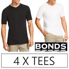 4 X BONDS MENS GENUINE V-NECK RAGLAN TEE -  Tees Black White Tshirt