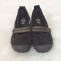 Merrell Plaza Bandeau Mary Jane Shoes Womens Size 9.5M Brown Suede Slip-Ons