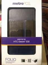 Phone Case New -HTC Desire 530 Folio Wallet Wristlet Black/Blue - w/box-MetroPCS