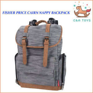 Fisher Price Cairn Baby Nappy Backpack W/ Wipes Nappies Bottles Pockets New