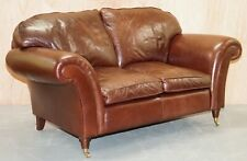 LAURA ASHLEY MORTIMER BROWN LEATHER TWO SEATER SOFA RRP 1,650