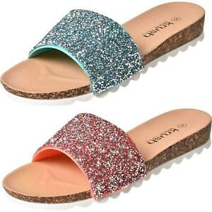Ladies Slider Mules Summer Sandals Celebrity Style Glitter Slip On Flat