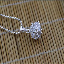 Women Jewelry 925 Sterling Silver Crystal Ball Pendants Necklace Chain