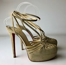 Christian Louboutin Grege Tres Francaise 140 Caged Suede Ankle Strap Heel Eu 37