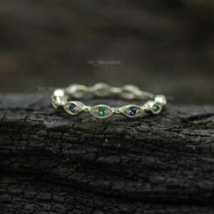 Multi Sapphire Real Gemstone Evil Eye Eternity Band Ring Solid 14K Yellow Gold
