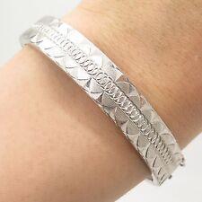 """Signed Antique Asia 925 Sterling Silver Wide Bangle Bracelet 6.5"""""""
