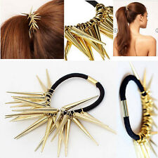 Cool Fashion Gold Rivets Spike Stud Elastic Ponytail Holder Hair Band Rope Hoop