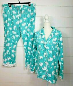 Munki Munki Size XXL 2Pc Flannel Pajamas Set Long Sleeve Polar Bear Fox 2XL New