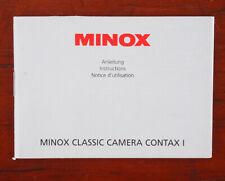 MINOX CLASSIC CAMERA CONTAX I INSTRUCTION BOOK/187052