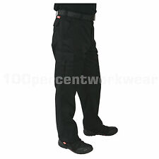 "Size 34""W TALL Leg BLACK Lee Cooper LC205 Mens Work Wear Trousers Cargo Pants"