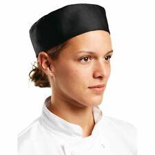 More details for whites chefs apparel unisex skull cap black polycotton hat kitchen headwear