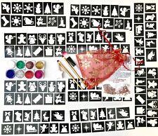 GLITTER TATTOO KIT 120 stencil 8 glitter  Christmas kit or refills