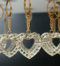 12 GOLD FIRST COMMUNION WEDDING CRYSTAL HEART PARTY FAVORS KEYCHAIN BAUTIZO