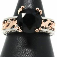 3 Ct Round Black Onyx Solitaire Ring Women Jewelry 14K Rose Gold Plated