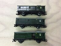 SET of 3 used Marklin 3294 / 4003 Caboose Tin Cars for Modeltrain H0