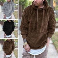 Hommes polaire fourrure à capuche pull manteau d'hiver veste sweatshirt hoodies