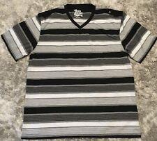 OLD SKOOL Mens Size XXL T-Shirt Vee Neck BLACK GREY WHITE STRIPES
