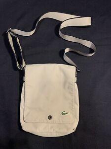 Vintage Lacoste Messenger Crossbody Bag UNISEX Satchel Designer Logo Beige