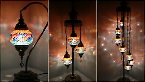 New 1/3/7 Glass Turkish Moroccan Style Glass Floor/Table Lamp - UK Certified
