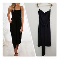 [ PASDUCHAS ] Womens Dynasty Bow Midi Black Dress RRP$279 | Size AU 12 or US 8